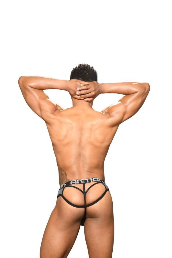 Andrew Christian Disco Glitter Lattice Thong w/ Almost Naked Zwart