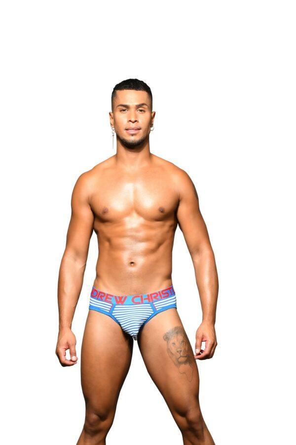 Andrew Christian Hampton Stripe Brief w/ Almost Naked Blauw