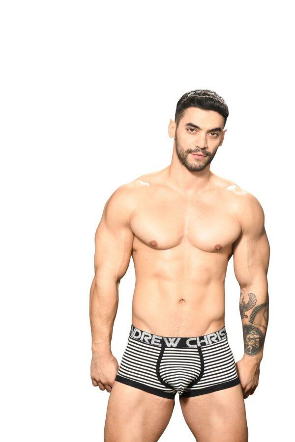 Andrew Christian Primary Stripe Boxer w/ Almost Naked Zwart