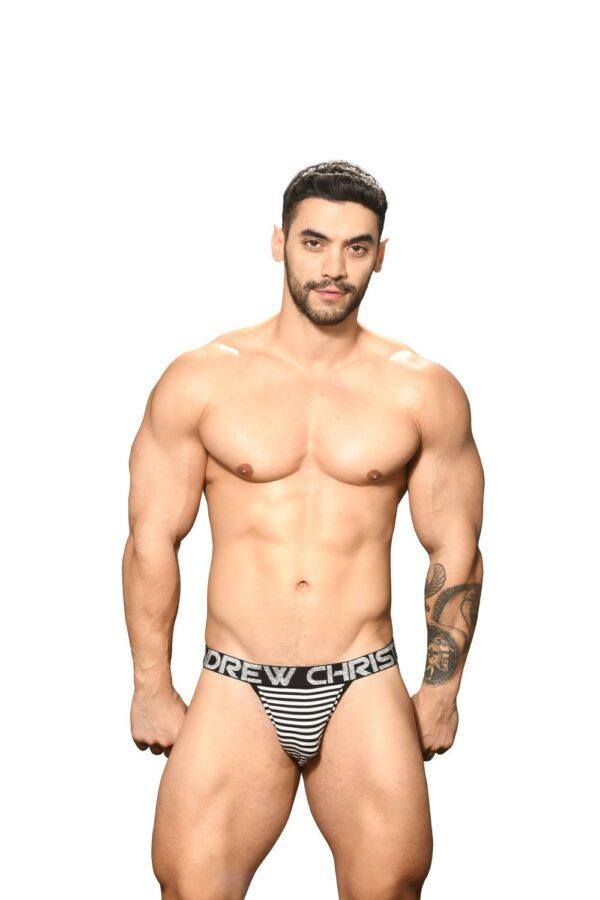 Andrew Christian Primary Stripe Jock w/ Almost Naked Zwart