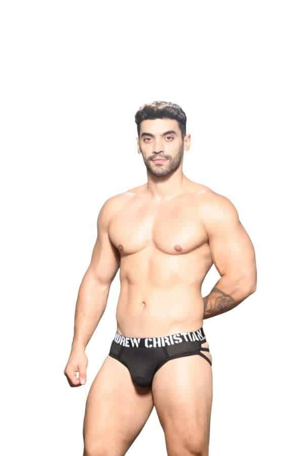 Andrew Christian Rebel Mesh Cage Thong w/ Almost Naked Zwart