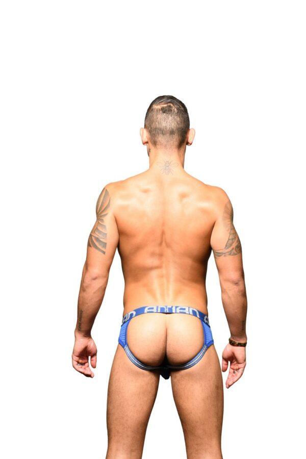 Andrew Christian Sheer Stripe Frame Jock w/ Almost Naked Blauw